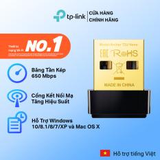[cổng cắm mạ vàng✨]TP-Link USB kết nối Wifi Băng tần kép Chuẩn AC600 Mbps Tăng cường kết nối Wi-Fi – Archer T2U Nano – Hãng phân phối chính thức