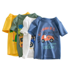 Áo thun trẻ em 27Kids, áo thun ngắn tay bé trai in ô tô du lịch