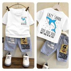 Set quần bò và áo cá mập LAZY SHARK