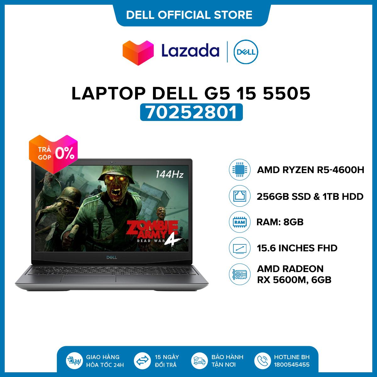 [VOUCHER 500K] Laptop Dell G5 15 5505 15.6 inches FHD (AMD Ryzen R5-4600H / 8GB / 512GB SSD / AMD...