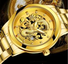 [HCM]Đồng hồ nam dây thép rồng vàng may mắn