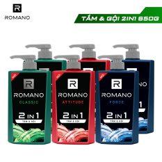 [Freeship][Tặng Bình Lock&Lock 1.4L] Combo 2 Tắm gội 2 trong 1 Romano 650g/chai