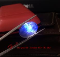 Viên saphia tự nhiên xanh dương thông đèn, làm mặt nhẫn 19,4carat