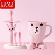 Bộ 3 bàn chải đánh răng cho bé silicon 360 độ kèm cốc nước ngộ nghĩnh, chính hãng UUMU from Germany, bảo vệ răng miệng cho bé