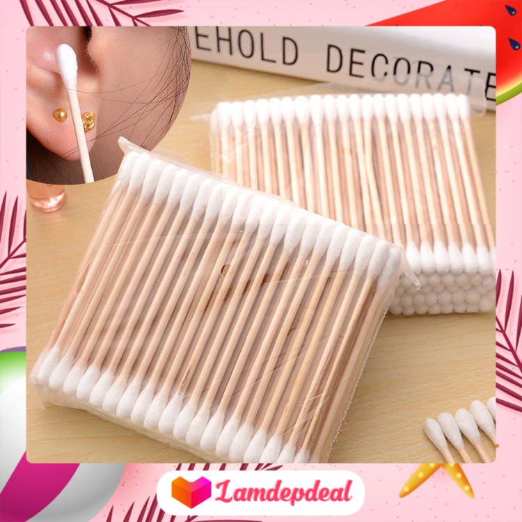 ♥ Lamdepdeal – Gói 100 tăm bông đa dụng thân gỗ – Bông gòn mềm mại, chất lượng cao