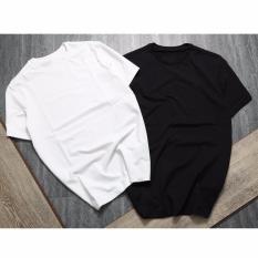 Combo 2 áo thun trơn trắng đen cotton vải dày mịn