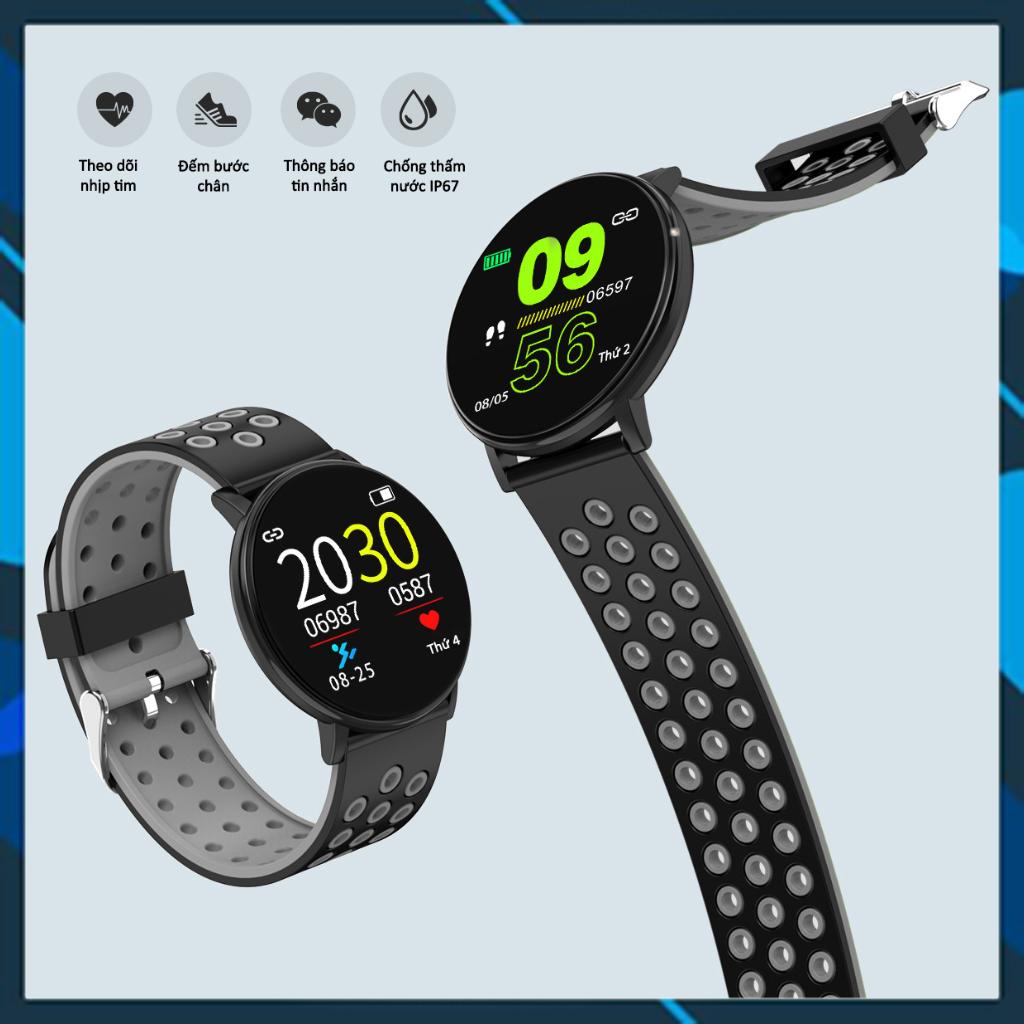 Đồng hồ thông minh mặt tròn D119 PLus. Phiên bản siêu chống nước, pin 5 ngày. Thông báo cuộc gọi, tin nhắn, facebook. Đo huyết áp, nhịp tim, thể thao. BH 12 tháng