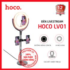 Đèn chiếu sáng Hoco LV01 để bàn kèm giá đỡ thiết bị 4.7-6.5 inch – Thích hợp cho livestream