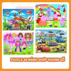 Tranh Xếp Hình 40 Mảnh Gỗ Có Khung/ Đồ Chơi Xếp Hình/Ghép Hình Cho Bé/Puzzle 40 Mảnh Gỗ/Tranh Cho Bé Từ 3 Tuổi