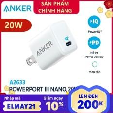 Cốc Sạc ANKER Powerport III Nano 20W 1 cổng USB-C PiQ 3.0 tương thích PD – A2633 – Hỗ trợ sạc nhanh 20W cho iPhone 8 trở lên