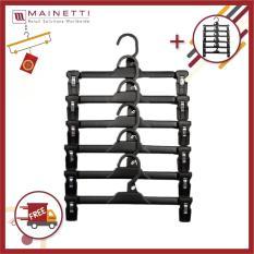 [ MUA 1 TẶNG 1 ] Bộ 6 móc treo quần người lớn cao cấp Mainetti – MB12 – Đen