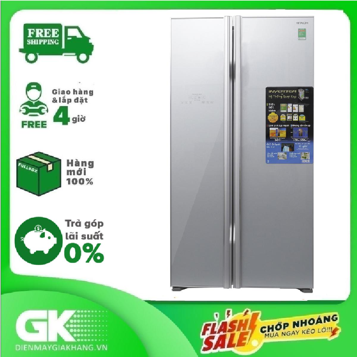 TRẢ GÓP 0% – Tủ lạnh Hitachi Inverter 605 lít R-S700PGV2 GS- Bảo hành 12 tháng