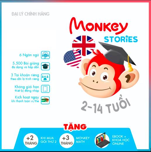 Monkey Stories (Trọn đời, 1 năm) – Truyện tương tác Phát triển toàn diện 4 kỹ năng tiếng Anh