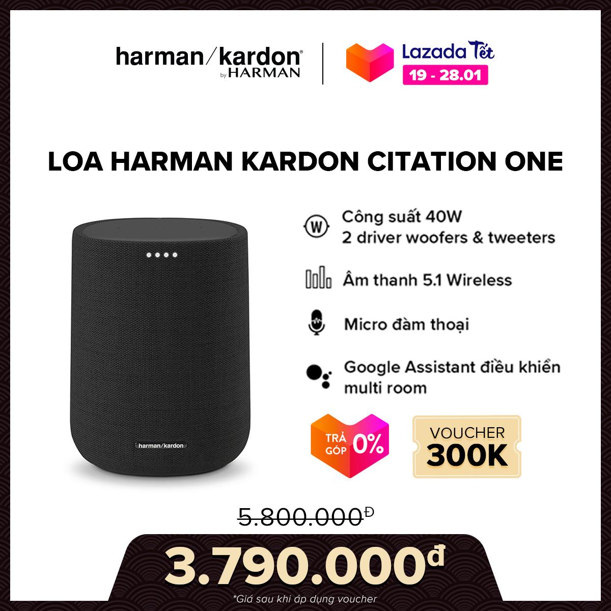 [VOUCHER 300K – TRẢ GÓP 0%] Loa Harman Kardon Citation One l Công suất 40W l Kết nối 2 loa cho âm thanh nổi l 2 Driver l Hỗ trợ Google Assistant l HÀNG CHÍNH HÃNG