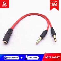 Dây chuyển đổi tai nghe 3.5mm sang 2 cổng 3.5mm (2 chiều) cho âm thanh audio và mic Gutek J01
