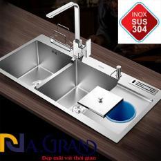 Chậu Rửa Chén Bát INOX SUS 304 N3 10048 NA.GRAND Tặng Rổ Đa Năng và Bộ Xả Chậu thoát nước