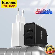 Củ sạc du lịch Baseus 5V/2.1A, công suất 10.5W, hai cổng USB sạc hai thiết bị cùng lúc – phân phối chính hãng tại Baseus Việt Nam
