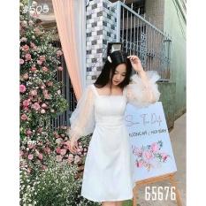 ( ẢNH THẬT) váy đầm chữ a tay phồng đính ngọc bo chun cổ vuông 89 ( TẶNG MÓC KHÓA 15K ) thời trang hàn quốc, AMELIA