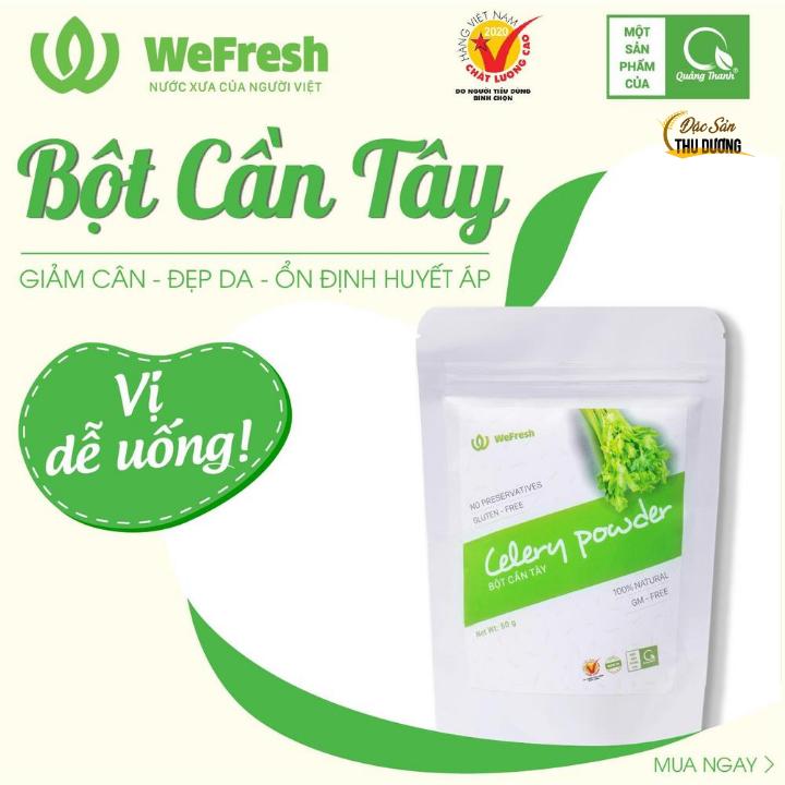Bột cần tây nguyên chất sấy lạnh WEFRESH – Bịch 50gr – Giảm cân, đẹp gia, ổn định huyết áp