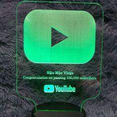 Đèn ngủ led cảm ứng nút Youtube khắc tên theo yêu cầu