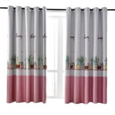Rèm vải dày cao cấp ( có sẵn khoen tròn ) 2m cao – chậu hoa ( hồng )