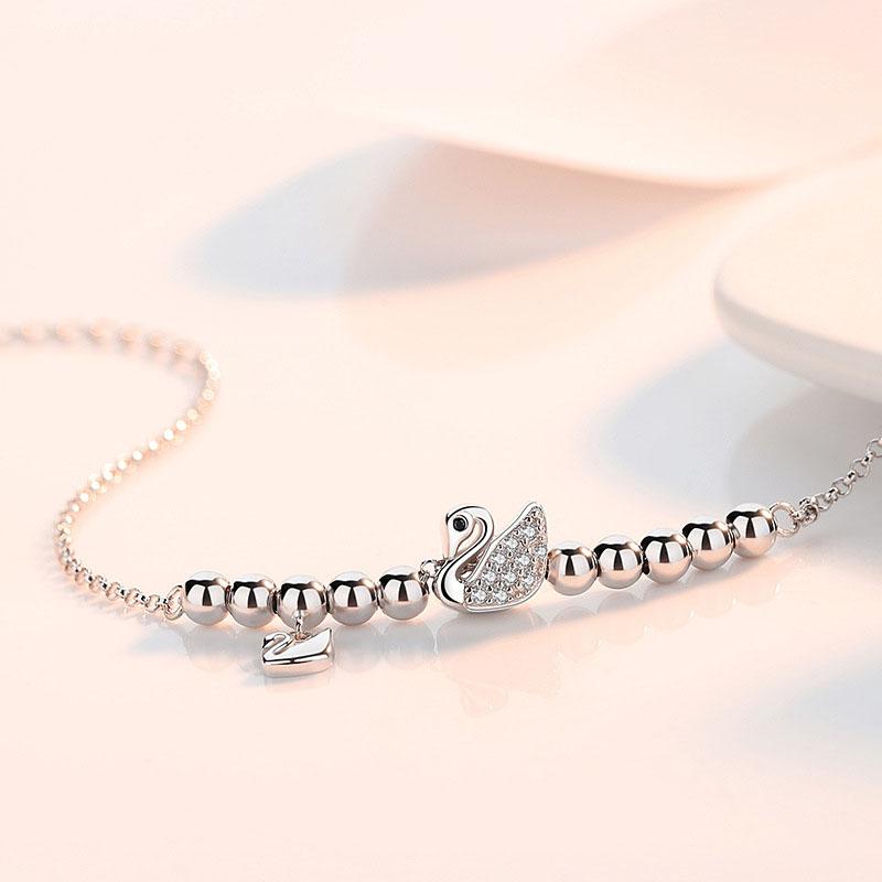 Lắc Tay   Lắc Tay Bạc Nữ Hình Thiên Nga Thiết Kế Tỉ Mỉ Dành Cho Nữ L2549 – Bảo Ngọc Jewelry