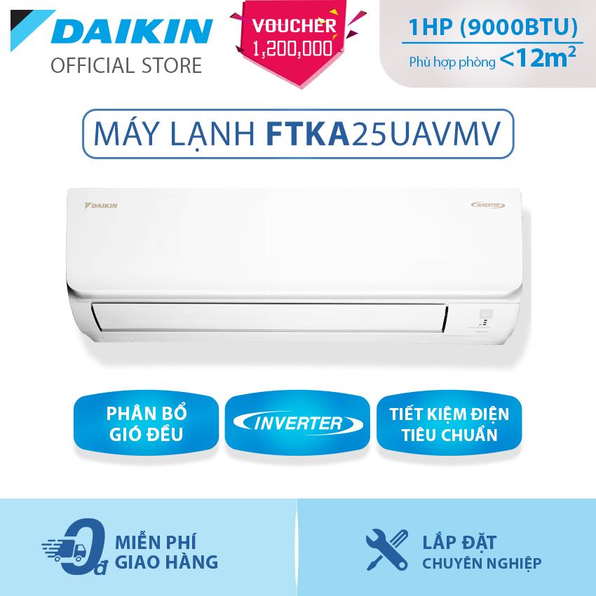 Máy Lạnh Daikin Inverter Tiêu chuẩn FTKA25UAVMV 1HP (9000BTU) – Tiết kiệm điện – Luồng gió Coanda – Độ bền cao – Chống Ăn mòn – Chống ẩm mốc – Làm lạnh nhanh – Hàng chính hãng