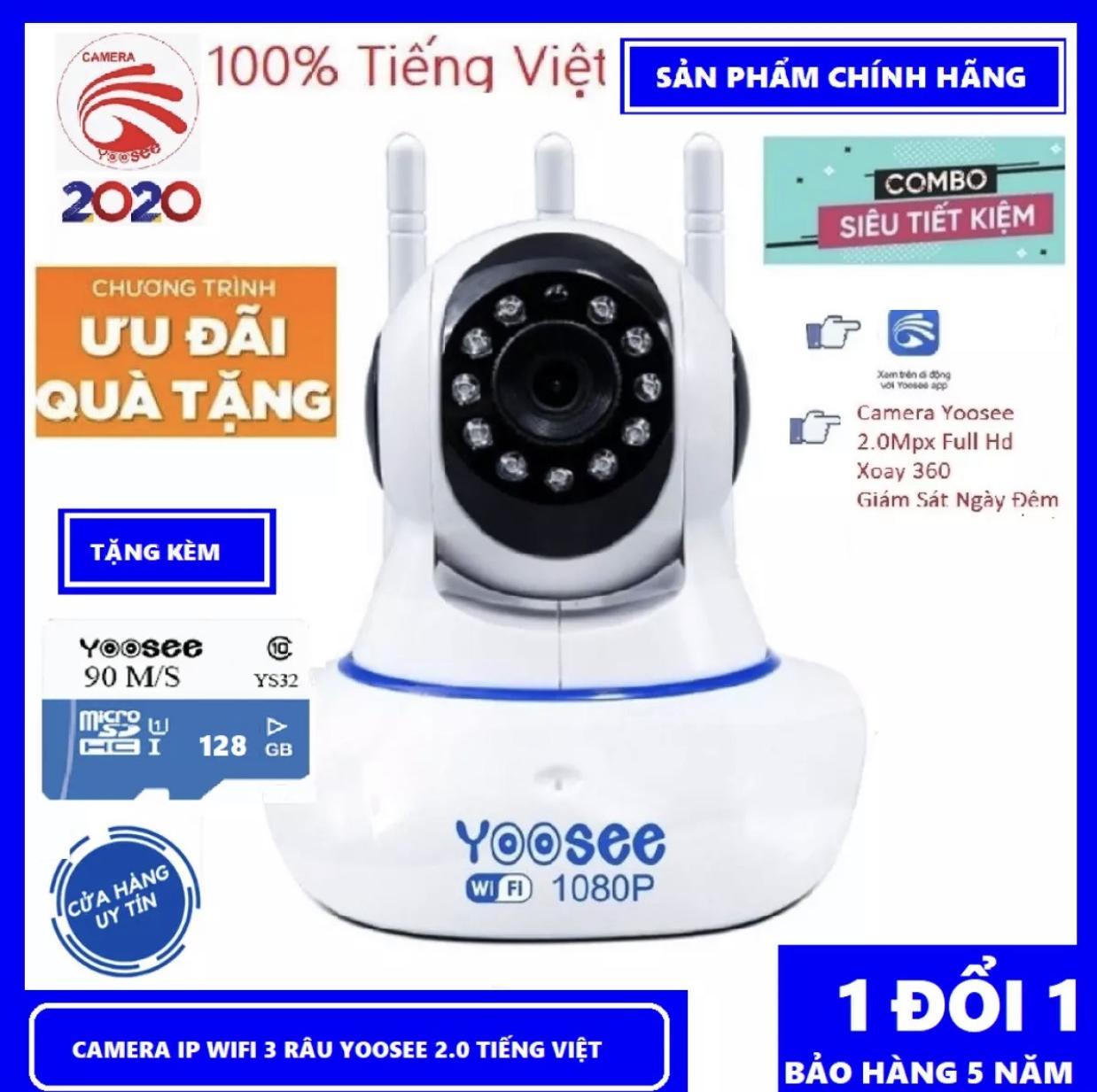 (COMBO CAMERA THẺ 128GB BH 5 NĂM) – CAMERA WIFI – YOOSEE IP WIFI IP SIÊU NÉT 2.0 FULL HD 1920 x 1080P – Viễn Thông Đại Phát