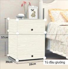 Tủ Đầu Giường Bằng Nhựa 2 Ngăn Lắp Ghép Tiện Lợi Gọn Gàng JJ0707