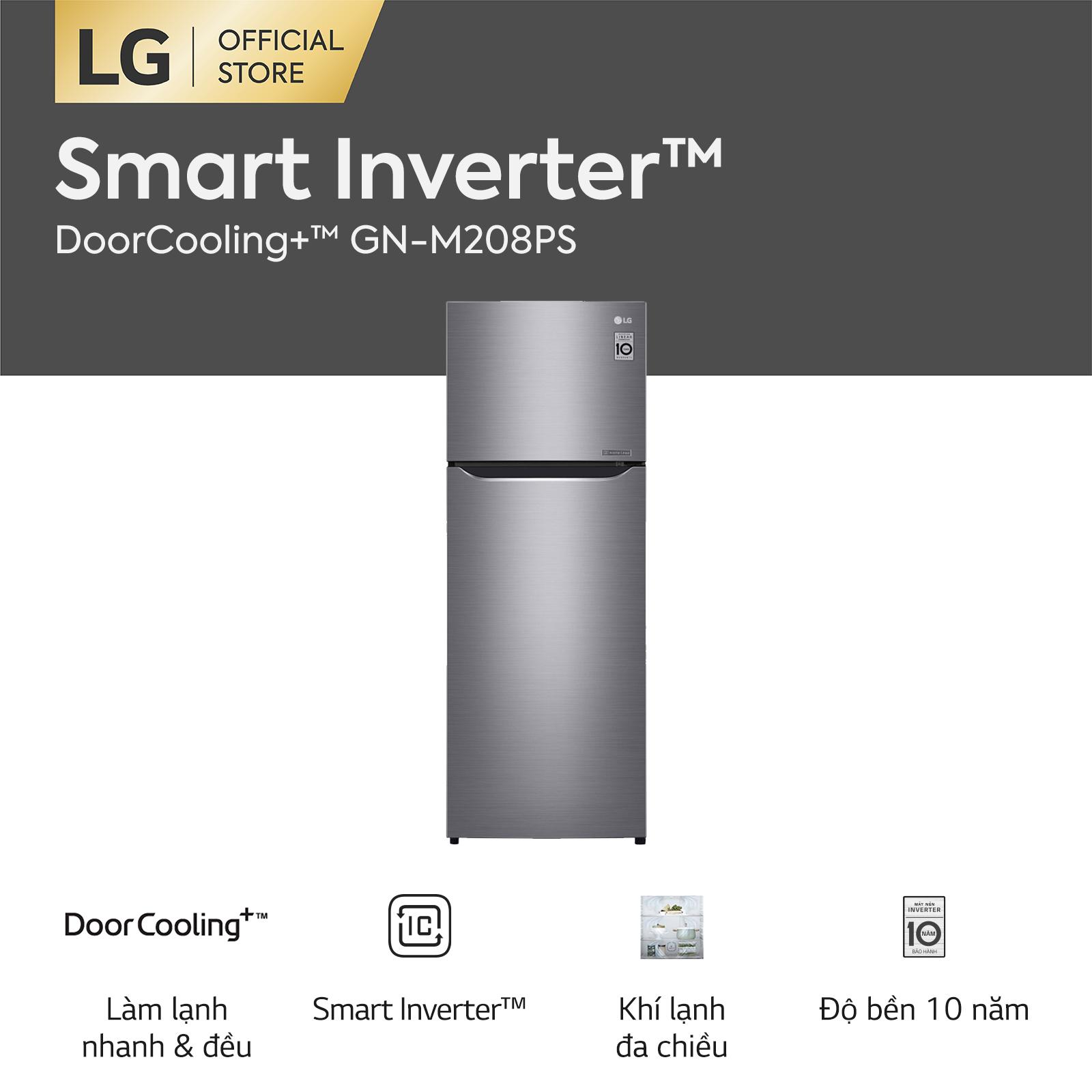 [FREESHIP 500K TOÀN QUỐC] Tủ lạnh LG Smart Inverter ngăn đá trên với DoorCooling+ GN-M208PS 225L (Bạc) 55.5 x 152 x 58.5cm – Hãng phân phối chính thức