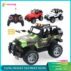 Xe jeep điều khiển từ xa 4 chiều vượt địa hình có sạc pin, vô lăng lái xe thiết kế như thật, điều khiển vô cùng nhạy, chất liệu nhựa an toàn cho bé