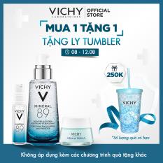 Bộ Dưỡng chất (Serum) khoáng phục hồi chuyên sâu Vichy Mineral 89 50ml Tặng Mặt nạ ngủ cấp nước Aqualia Sleeping Mask 15ml và Serum Mineral 89 10ml