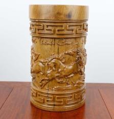 hộp trà bát mã cao cấp gỗ bách xanh sơn la nguyên khối
