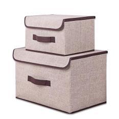 Bộ 2 hộp đựng đồ có tay xách- Hộp vải lanh đựng đồ tiện dụng, nhiều màu, giao ngẫu nhiên
