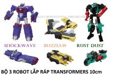 Combo 3 Robot 10cm: BUZZSAW – RUST DUST – SHOCKWAVE / Transformers Combiner Wars