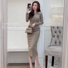Đầm nữ body dài tay len tăm xẻ tà cao cấp