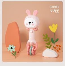 Đồ chơi lục lạc ngậm nướu thỏ có nhạc và đèn cho bé