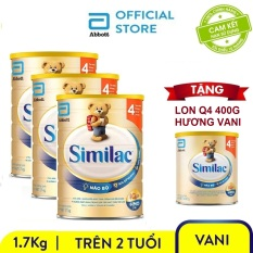 Bộ 3 sữa bột Similac IQ 4 hương vani 1.7kg + Tặng lon Similac IQ 4 hương vani 400g