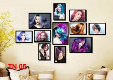 Bộ tranh treo tường tiệm cắt tóc nữ 11 tấm