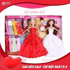 Bộ đồ chơi 2 Búp bê mặc đầm cưới và 9 bộ đầm nhỏ
