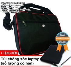 Cặp xách, túi đựng laptop 14, 15″ Logo nổi DC11 có ngăn bảo vệ laptop và dây đeo vai (Màu đen viền đỏ)