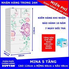 Tủ nhựa cao cấp Duy Tân MINA 5 tầng (Trắng) tặng kèm Ghế xếp mini Duy Tân màu sắc ngẫu nhiên