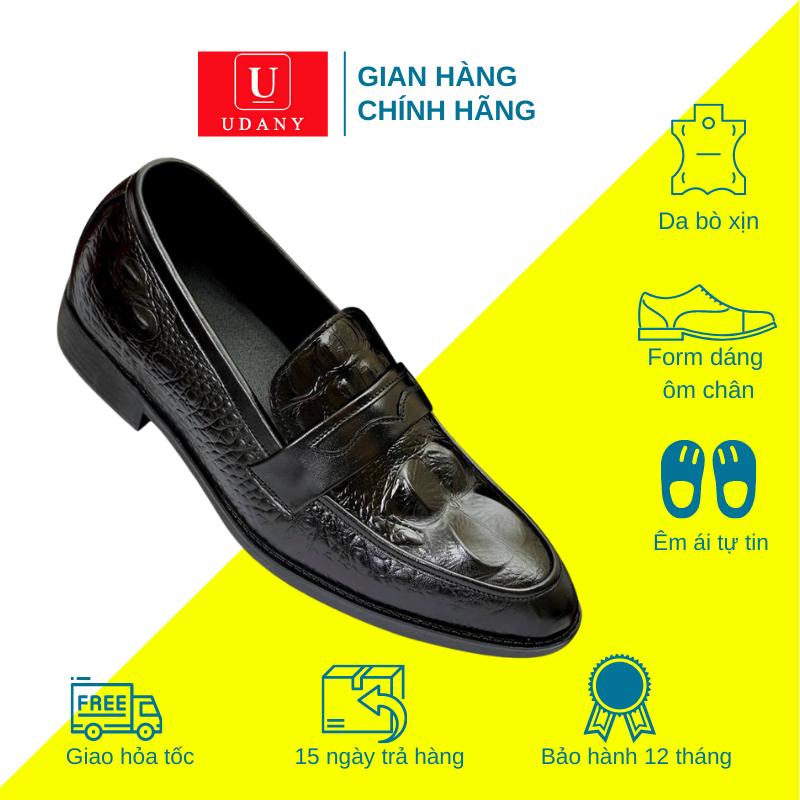 Giày Nam Da Bò Dập Vân Cá Sấu UDANY – GLN04 – Màu Đen Phù Hợp Đi Làm Công Sở và Đi Chơi