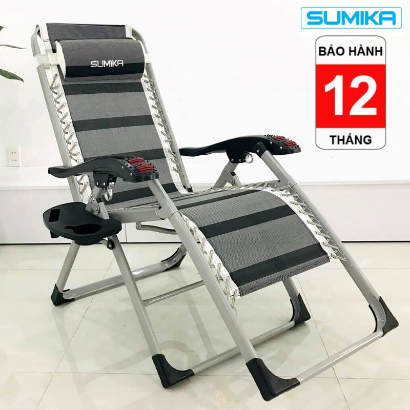 Ghế xếp thư giãn, ghế gấp gọn thư giãn, ghế lăn tay massage thư giãn Sumika-199, Khung vuông sơn tĩnh điện cao cấp sang trọng, lăn tay massage hiện đại, tặng khay để ly, bảo hành 12 tháng