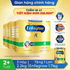 [Quà tặng + FREESHIP TOÀN QUỐC] Bộ 3 hộp sữa bột Enfagrow 4 cho trẻ trên 2 tuổi 2.2kg – 4 túi thiếc 550g) – Tặng 1 lon Enfagrow 4 1.7kg