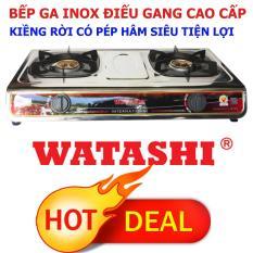 Bếp Gas Đôi Cao Cấp INOX Điếu Gang Đúc Có Hâm WATASHI WA-2011