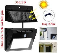 Bóng đèn LED năng lượng mặt trời 30 Led, Pin và đèn tách rời, cảm biến hồng ngoại 3 chế độ chiếu sáng