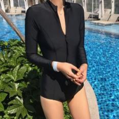 [HÀNG HOT + CÓ SẴN] Bikini Một mảnh đen tay dài khóa kéo cá tính