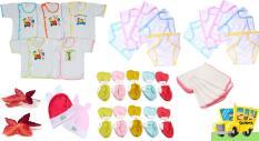 Bộ 42 Món Đồ Dùng Dành Cho Bé Sơ Sinh Cao Cấp 0 – 6 tháng( 5 áo cotton + 5 khăn sữa + 2 nón + 10 cặp bao tay + 10 cặp bao chân + 10 tã dán đóng tã)