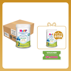 Thùng 6 lon Sữa bột dinh dưỡng công thức HiPP 2 Organic Combiotic hỗ trợ, tăng cường sức khoẻ hệ miễn dịch, bổ sung omega 3,6 (DHA&ARA) dành cho trẻ dưới 1-3 tuổi (6 lon x 800g)
